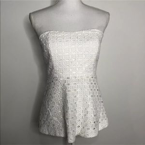 J Crew Factory 4 Strapless Lace Peplum Top White
